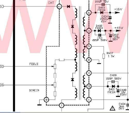 tcl王牌电视机高压包bsc27-0166a;; 电视机高压包电路图; tcl王牌标